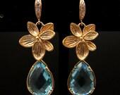aquamarine crystal pendant drop with gold vermeil hook earrings