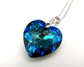Swarovski bermuda blue heart crystal pendant necklace - free US shipping