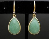 gold plated brass framed light green jade teardrop with gold hook with cz. - Free US shipping