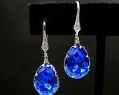 Christmas Sapphire blue crystal swarovski rhinestone drop with white gold cubic zirconia hook earrings - Free US shipping