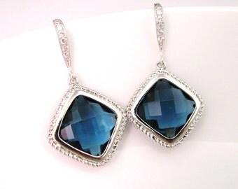 cubic silver hook earrings with rhombus shape deep sapphire blue crystal bezel pendant earrings - Free US shipping