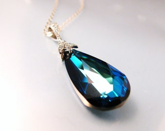Bermuda Blue swarovski crystal necklace in silver - Free US shipping