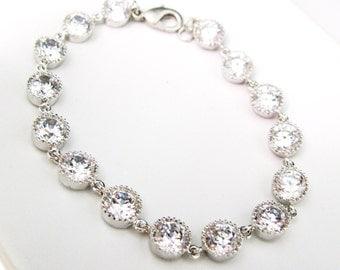 bridal wedding bracelet bridesmaid gift prom party christmas Clear white round cubic zirconia white gold tennis bracelet - Free US shipping