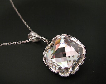 Bridal wedding jewelry bridesmaid gift prom party Swarovski clear white vintage square estate  crystal rhinestone sterling silver necklace
