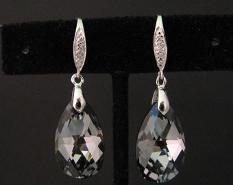 bridesmaid gift wedding jewelry bridal Swarovski silver night teardrop crystal drop white gold sterling silver cubic zirconia hook earrings