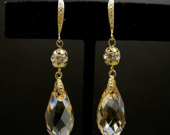 bridal wedding swarovski golden shadow 22mm briolette crystal drop with cubic zirconia deco vermeil gold hook and rhinestone filigree ball