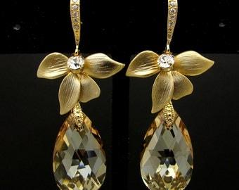 Sterling silver hook BRIDAL earrings  BRIDESMAID gift swarovski Golden shadow teardrop pendant earring on golden orchid and vermeil cz hook