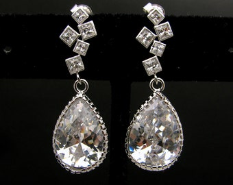Bridal wedding Clear white teardrop cubic zirconia on unique cz post earrings - Free US shipping