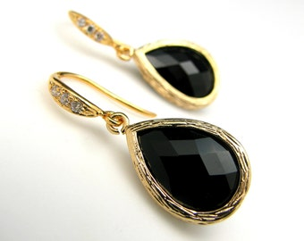 jet black glass quartz drop with sterling silver gold cubic zirconia earrings - Free US shipping
