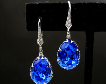 Christmas Sapphire blue crystal swarovski rhinestone drop with white gold cubic zirconia hook earrings - Free US shipping