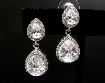 bridal wedding Clear white teardrop cubic zirconia on teardrop cz post earrings  - Free US shipping