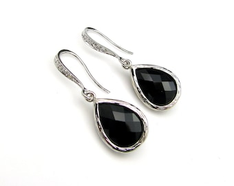 jet black glass quartz drop with sterling silver cubic zirconia earrings - Free US shipping