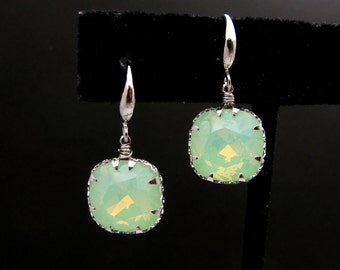 STERLING SILVER square vintage chrysolite swarovski foiled back crystal rhinestone and sterling silver hook earrings - Free US shipping
