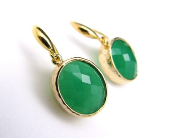 STERLING SILVER gold plated brass framed palace green jade and gold sterling silver hook  - Free US shipping