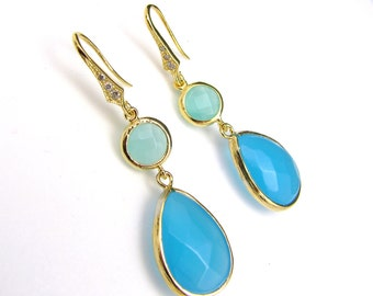 gold plated brass framed ice mint glass and turquoise blue quartz double drop with vermeil gold hook with cubic zirconia. - Free US shipping