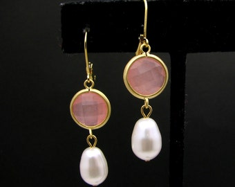 gold plated brass framed light rose pink jade round connector with swarovski white cream pear drop pearl and gold hook  - Free US shipping