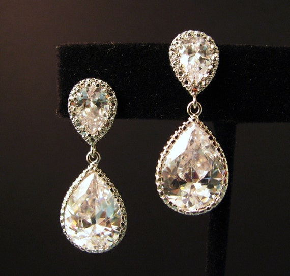 Clear white teardrop cz on teardrop cz post earrings - Free US shipping