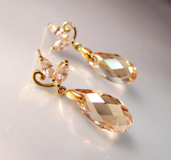 golden shadow briolette swarovski crystal earrings with cubic zirconia leaf earring post - Free US shipping