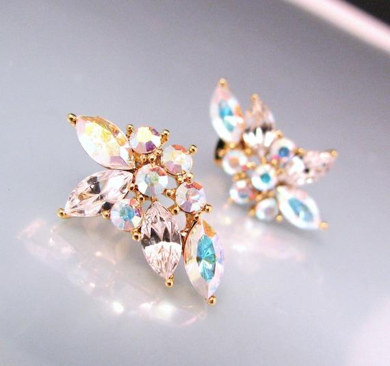 White AB crystal rhinestone flower post earrings - Free US shipping