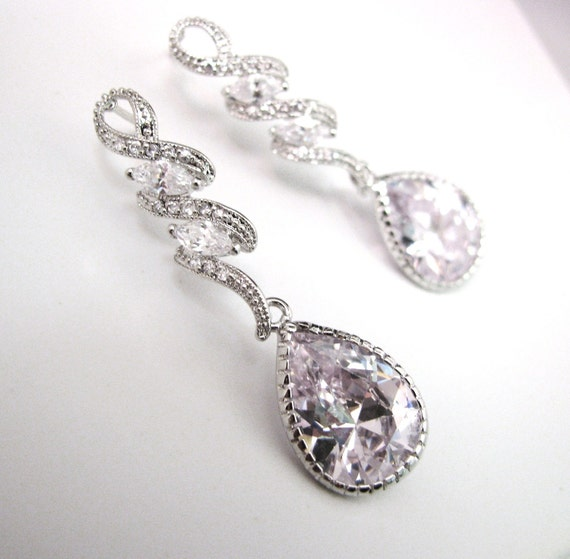 Clear white teardrop cz on luxury curvy cz post earrings - Free US shipping