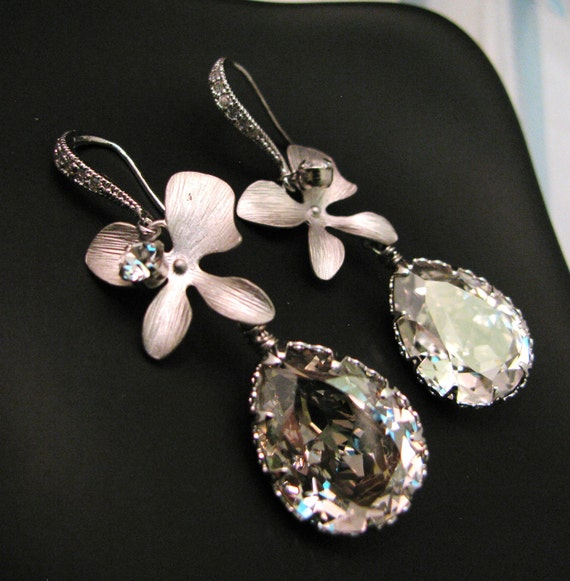 Swarovski silver shade teardrop foiled crystal with white gold plated orchid flower connectors and sterling silver cz hook earrings