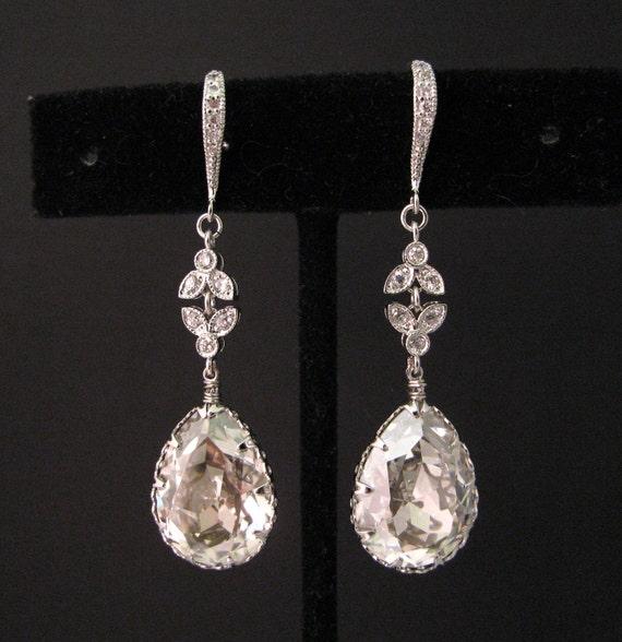 Bridal earrings wedding earrings Vintage style Swarovski silver shade teardrop foiled rhinestone drop with cubic zirconia deco silver hook