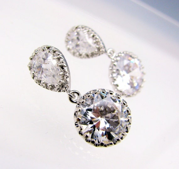 Clear white round cz drop on teardrop cz post earring - Free US shipping