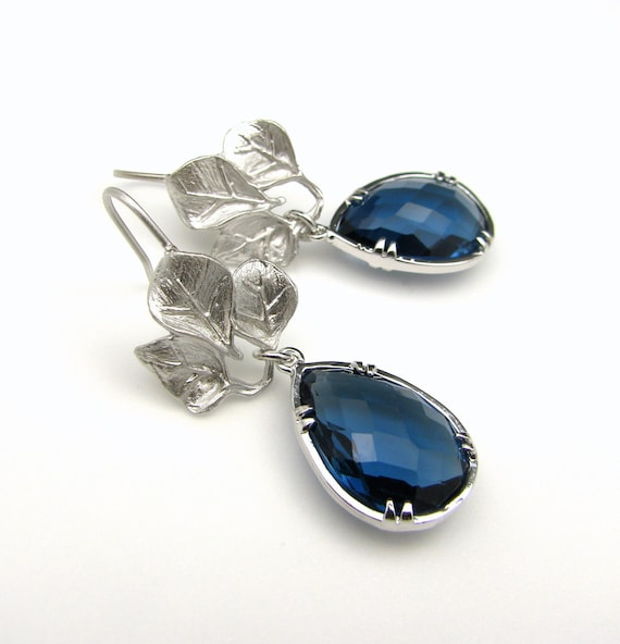 Sapphire blue crystal quartz pendant drop with matte leaf white gold  hook earrings