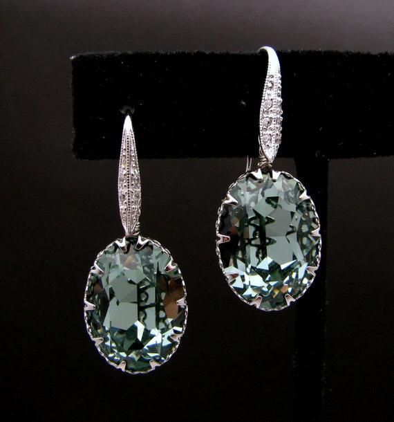 bridesmaid gift bridal earrings Rare Swarovski indian sapphire vintage oval crystal fancy rhinestone drop cubic zirconia white gold hook