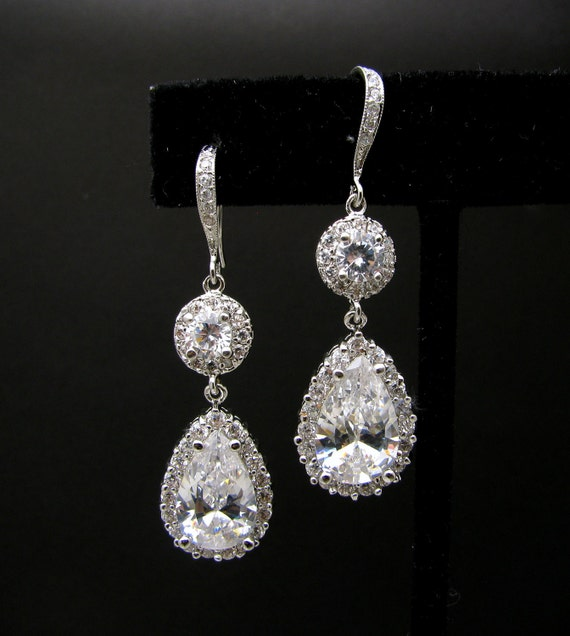 bridal wedding bridesmaid christmas Clear white teardrop cubic zirconia on cz hook sterling silver hook earrings with round cz connectors