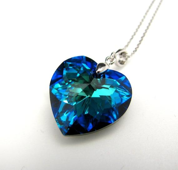 Swarovski Bermuda Blue Heart Crystal Pendant Necklace Free