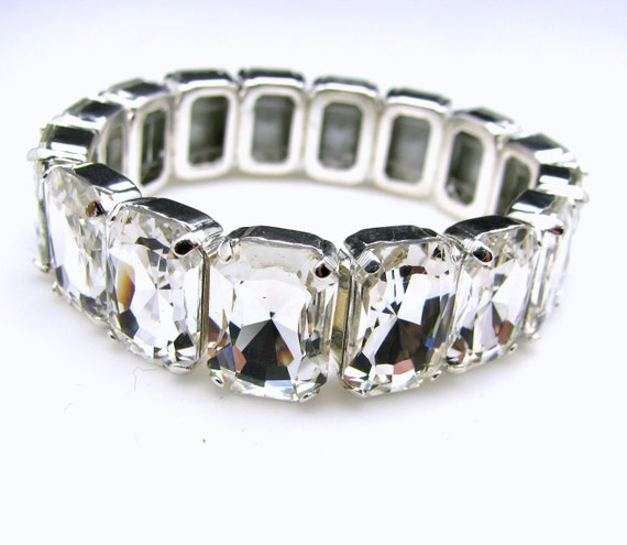 Limited qty only 1 in stock, Bold luxury bridal wedding Swarovski clear white rectangle foil back crystal rhinestone stretch bracelet