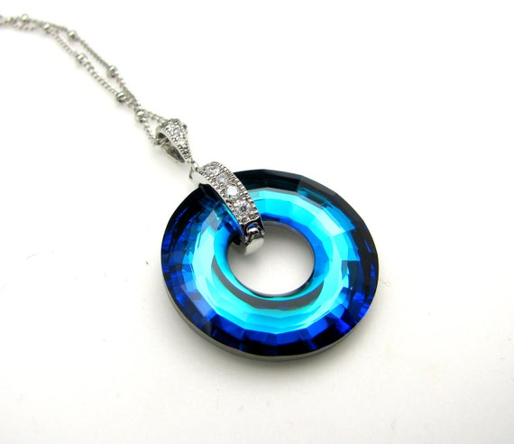Swarovski bermuda blue focal disk pendant crystal with silver chain necklace- Free US shipping