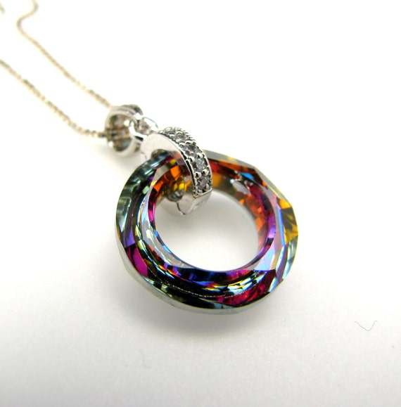 Swarovski rare volcano vintage style cosmic ring shape crystal pendant with white gold sterling silver chain necklace