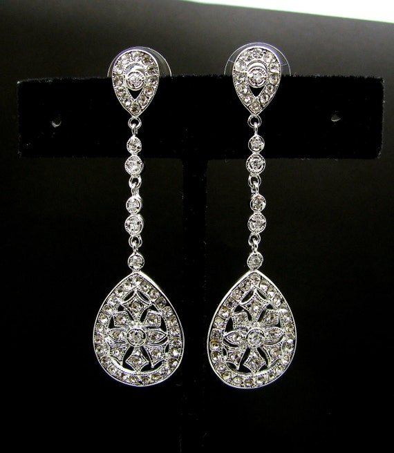 wedding bridal Clear white Faux Marcasite Dangle post earrings - Free US shipping