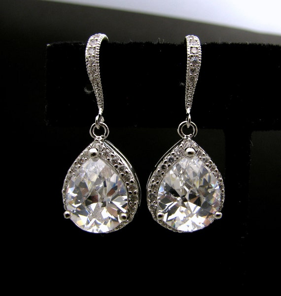 wedding bridal jewelry christmas prom party bridesmaid gift Clear white teardrop cubic zirconia on cz hook silver hook