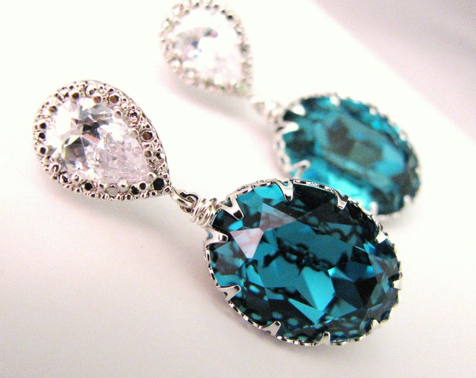 Swarovski indicolite blue oval vintage style foiled pendant silver teardrop post earrings- Free US shipping