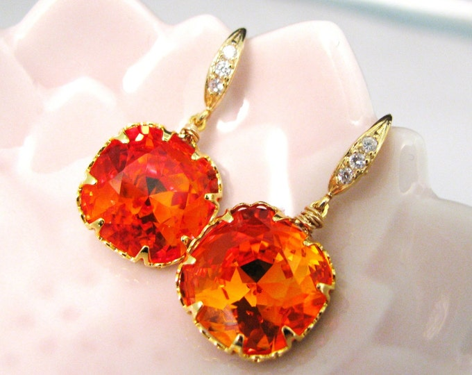 cubic zirconia gold plated sterling silver hook earrings with swarovski vintage fire opal orange square drop crystal rhinestone