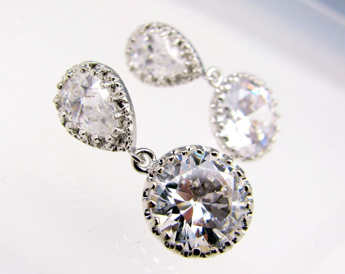 SALE multiple Set of 4 5 6 7 8 pairs bridesmaid earrings gift bridal jewelry Clear white round cubic zirconia drop teardrop cz post earring