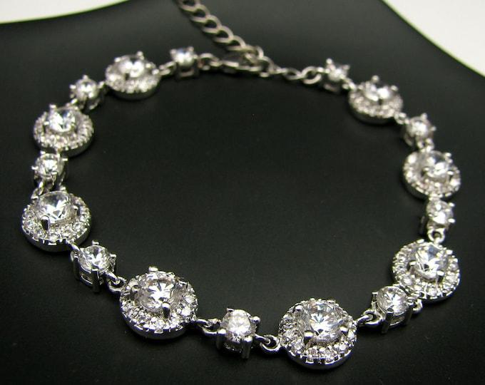 bridal bracelet wedding jewelry prom party gift christmas bridesmaid rhodium white gold halo pave Clear white round cubic zirconia bracelet