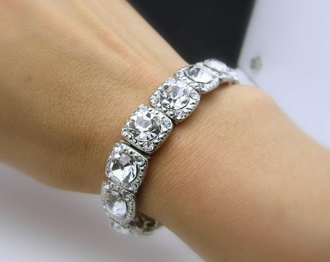 Bridal bridesmaid gift prom clear white round rhinestone setting rhodium silver plated stretch bracelet - Free Us shipping