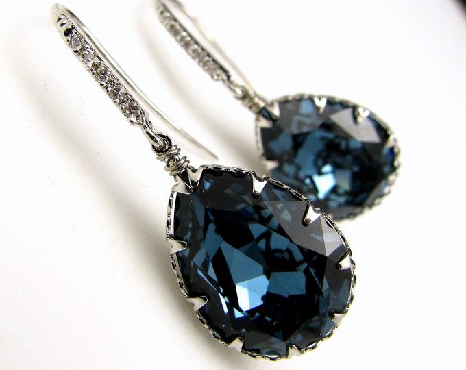 Sale Multiple Set of 4 5 6 7 8 pairs Bridesmaid earrings gift jewelry bridal party Denim blue teardrop swarovski crystal silver cubic hook
