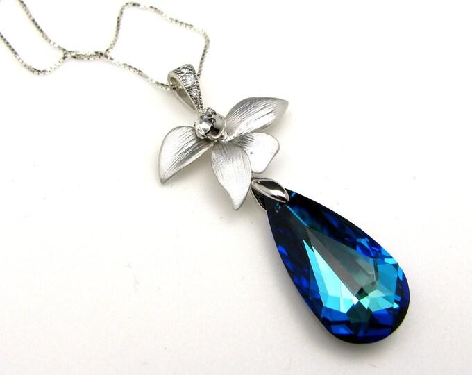 SALE multiple SET of 4 5 6 7 8 Bridesmaid necklace jewelry gift set bridal Bermuda Blue swarovski crystal necklace orchid leaf connectors