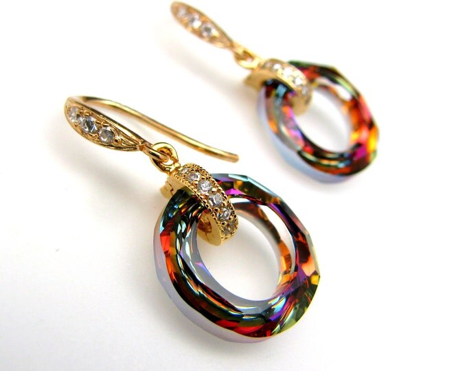 Swarovski volcano cosmic crystal ring pendant with cubic zirconia deco golden vermeil hook earrings - Free US shipping