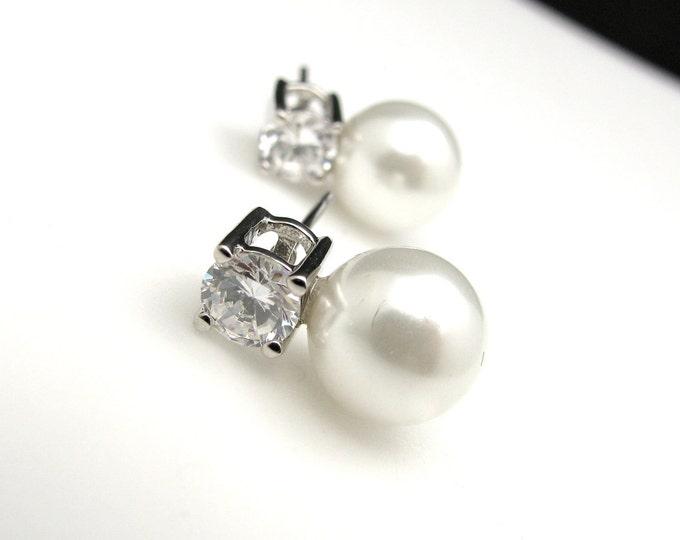 SALE Set of 4 5 6 7 8 pairs bridesmaid earrings gift Bridal earrings bridesmaid cream or white pearl on cubic zirconia rhodium post earrings