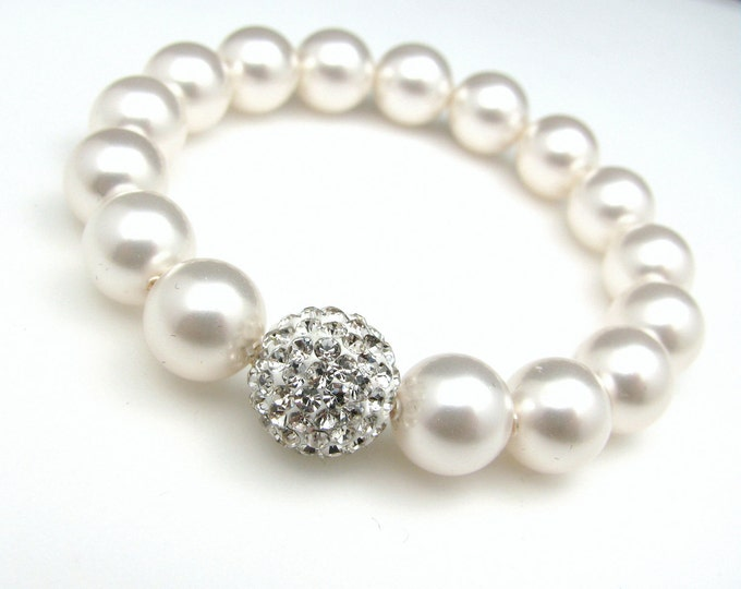 bridal jewelry wedding jewelry bridal bracelet wedding bracelet Swarovski white round pearl clear cluster rhinestone ball stretch bracelet