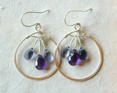 Iris Earrings - Hand Forged Sterling Silver - Wire Wrapped - Purple Amethyst - Blue Water Iolite Briolettes - READY TO SHIP
