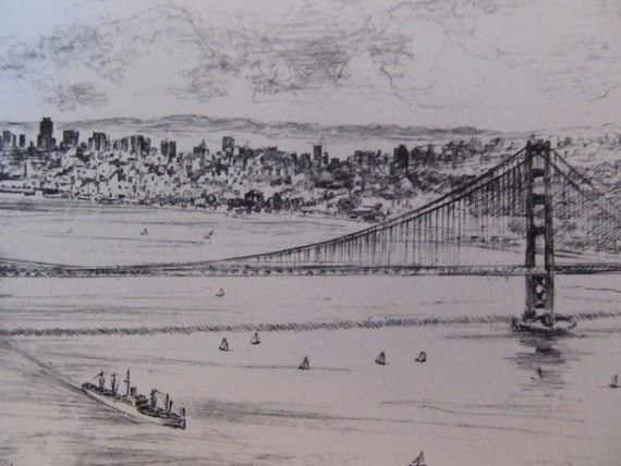 San Francisco Golden Gate Bridge etching by Alec Stern - vintage picture, art from California
