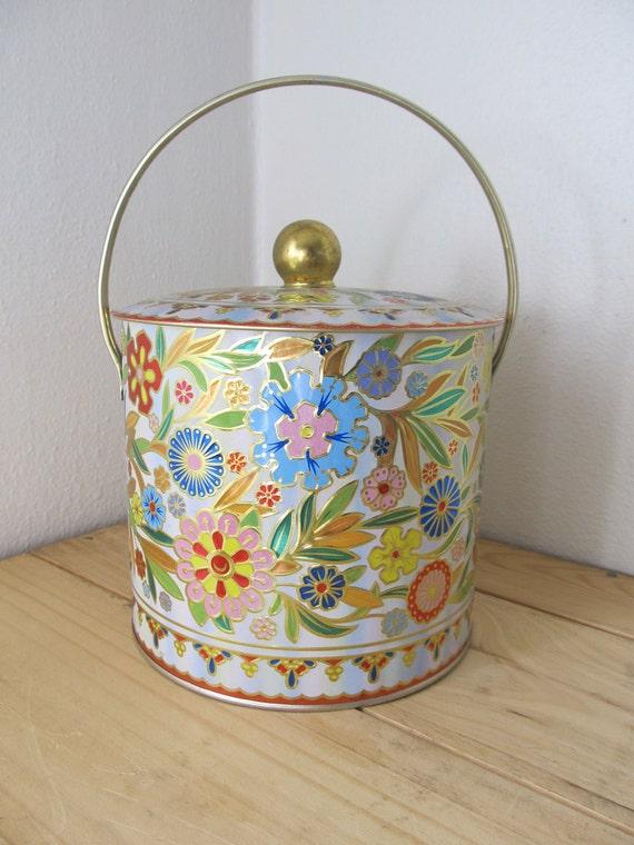 Vintage English cookie tin jar with handle -vibrant floral basket