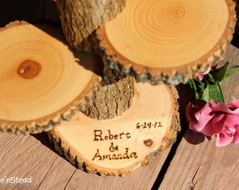 Custom Names Rustic Wedding Log 3 Tiered Stand With Personalized / Customizable Base Wedding Table Centerpiece